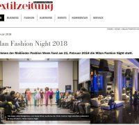 Kitty Montgomery at Milan Fashion Night during Milan Fashion Week – featured in the Textilzeitung