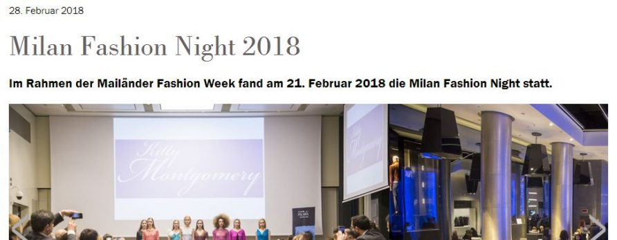 Kitty Montgomery at Milan Fashion Night during Milan Fashion Week – featured in the Textilzeitung